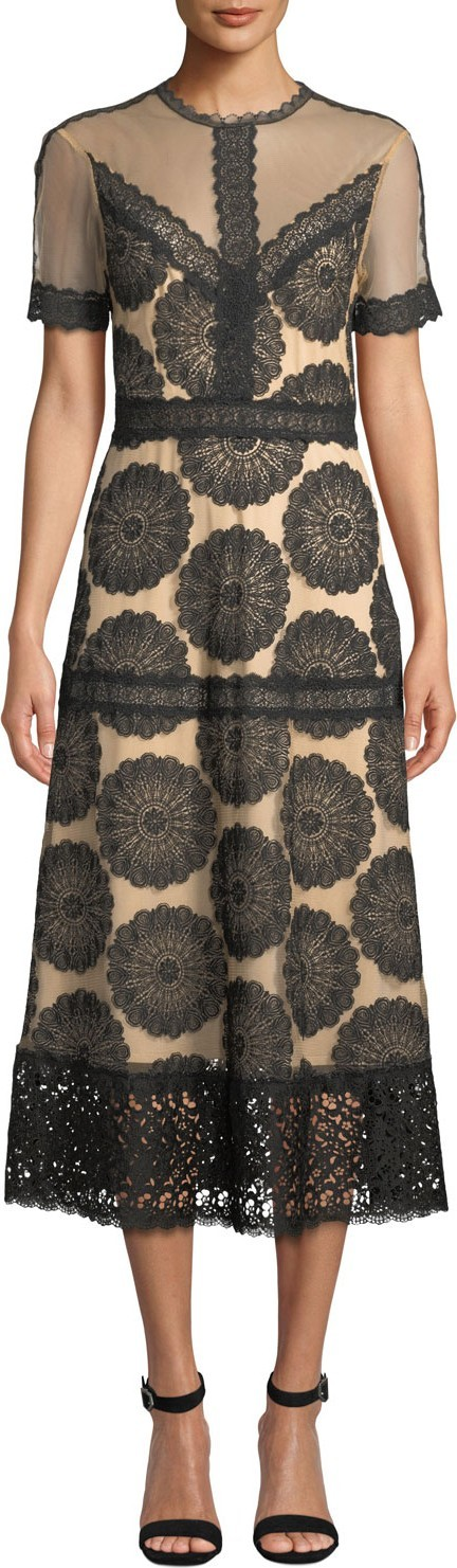 Nightcap Clothing Pinwheel Embroidered Lace-Trim Dress