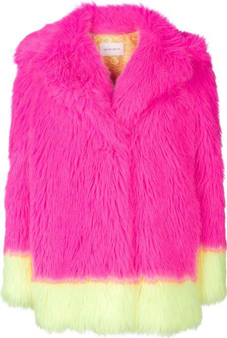 Alberta Ferretti Colour block faux fur jacket