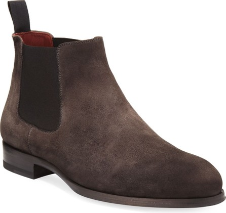 MAGNANNI Suede Low Gored Chelsea Boot, Gray
