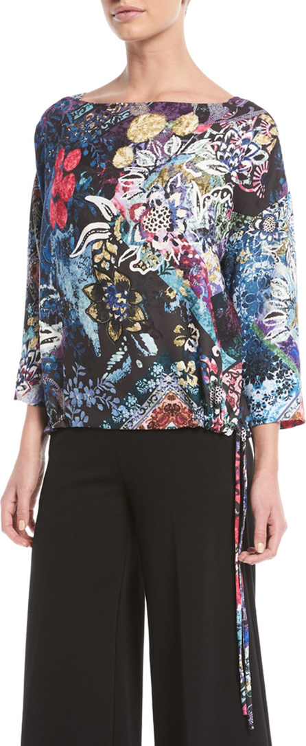 Fuzzi 3/4-Sleeve Multi Floral-Print Tulle Drawstring Top