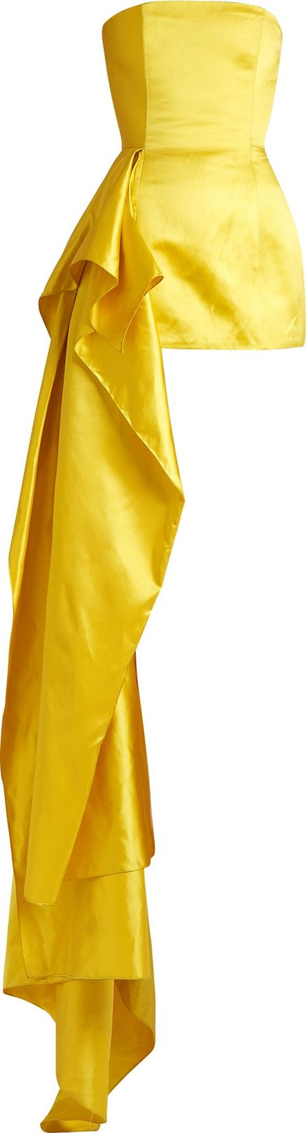 Halpern Asymmetric-draped satin bustier top