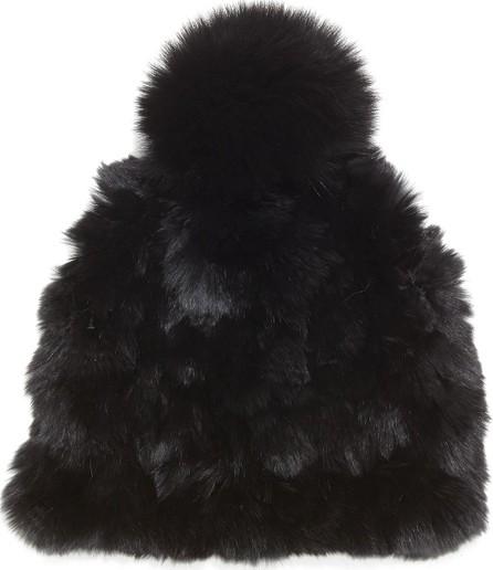 Glamourpuss Knitted Fur Pom-Pom Hat, Black