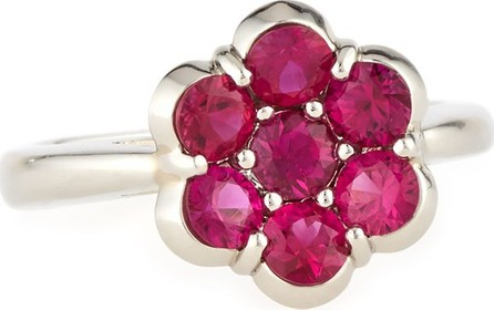 Bayco Platinum &  Ruby Flower Ring