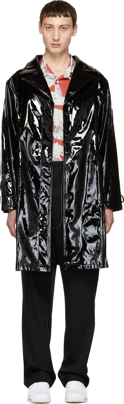 Anton Belinskiy Black Lacquer Vinyl Trench Coat