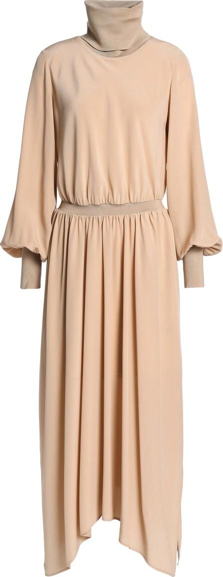 Agnona Draped silk crepe de chine turtleneck midi dress
