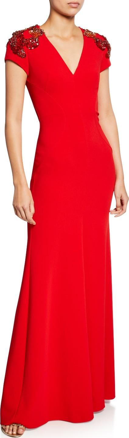 Jenny Packham Lugano Cap-Sleeve Beaded V-Neck Gown