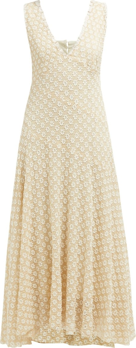 Alexachung Floral-lace V-neck midi dress