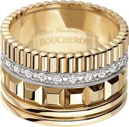 Boucheron Quatre 18K Yellow Gold Ring with Diamonds, Size 54