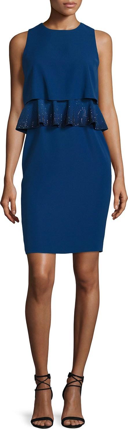Armani Collezioni Embroidered-Peplum Popover Dress, Royal Blue
