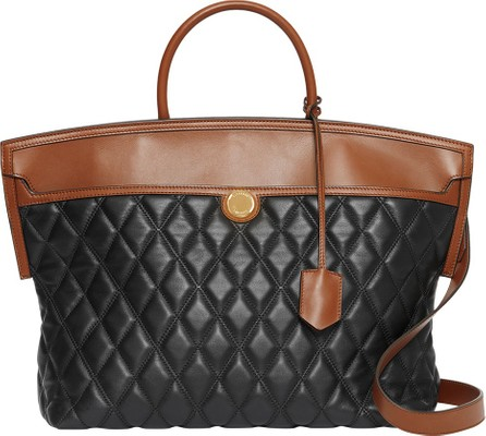 Burberry London England Argyle Quilted Leather Medium Top Handle Bag