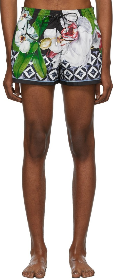 Dolce & Gabbana Black Flower Swim Shorts