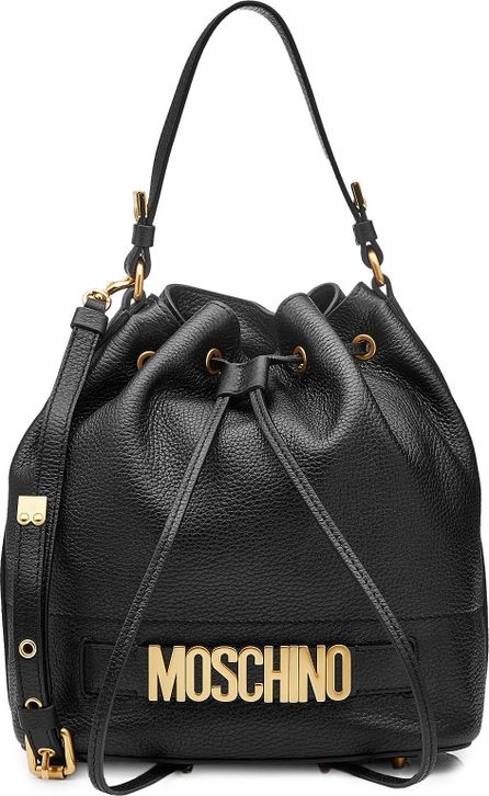 Moschino Leather Bucket Bag with Embellished Logo