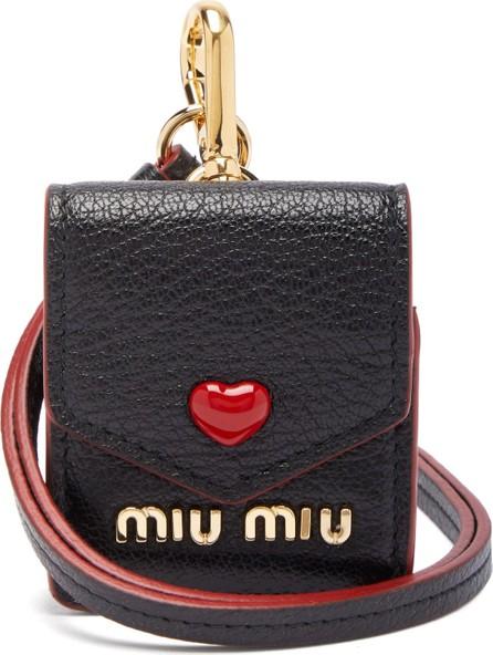 Miu Miu Heart logo leather earphone case
