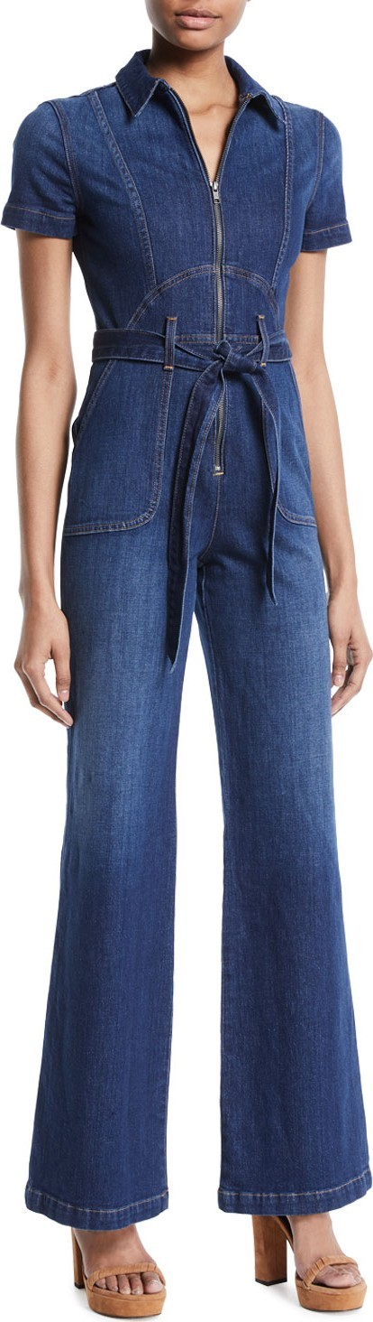 AO.LA by alice + olivia Gorgeous Wide-Leg Fitted Denim Jumpsuit