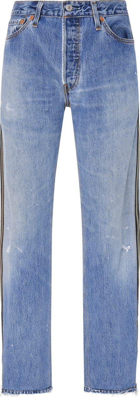 RE/DONE Side-Zip High-Rise Straight-Leg Jeans