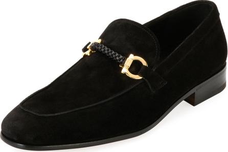 Salvatore Ferragamo Men's Suede Braided Gancini Loafer, Black