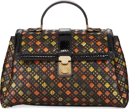 Bottega Veneta Stained Glass Piazza Medium Intrecciato Top-Handle Bag