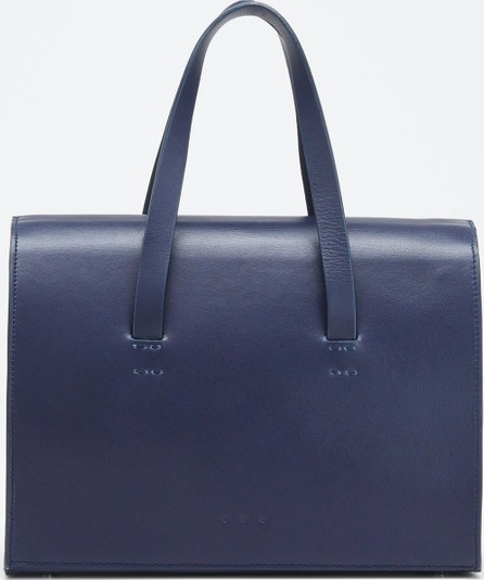 Aesther Ekme Leather New Mini Barrel Satchel Bag  Navy