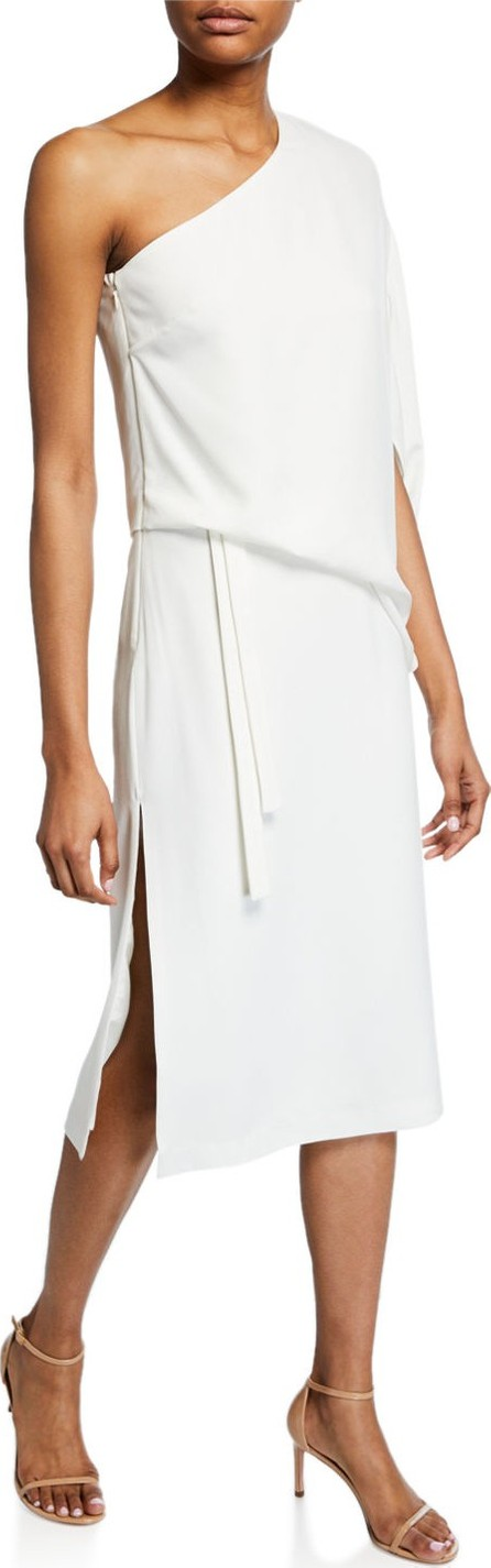 HALSTON HERITAGE Draped One-Shoulder Asymmetric Dress