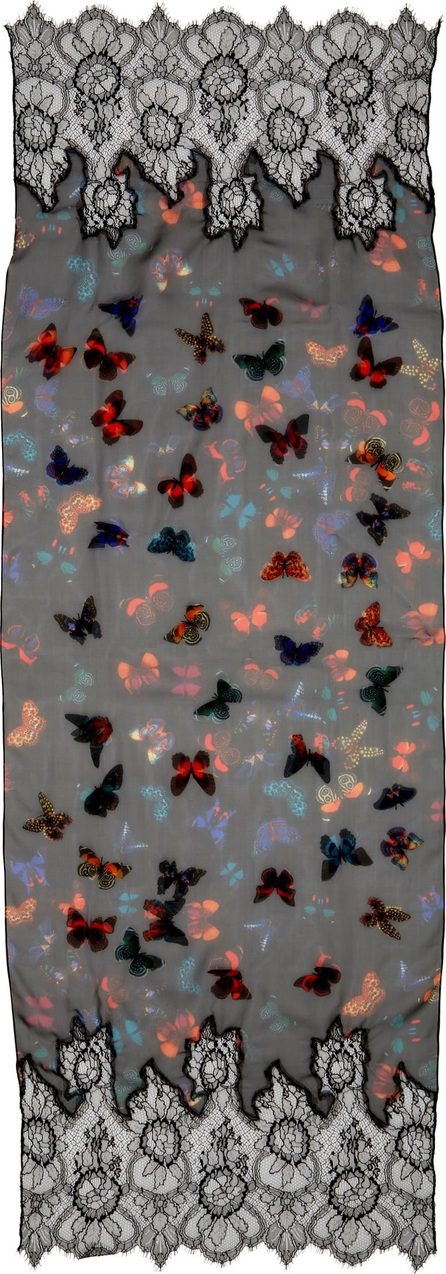 Valentino Embroidered Butterfly Lace Silk Scarf