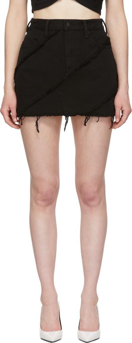 Alexander Wang Black Denim Diagonal Bite Miniskirt