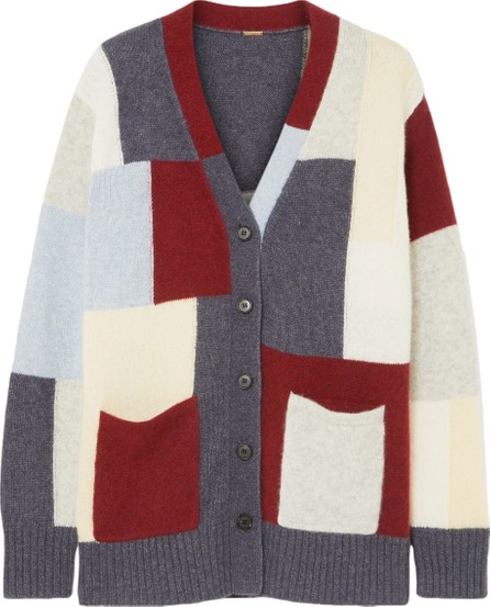 Adam Lippes Patchwork-effect brushed cashmere and silk-blend cardigan