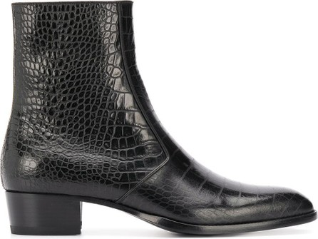 Saint Laurent Wyatt crocodile-embossed boots
