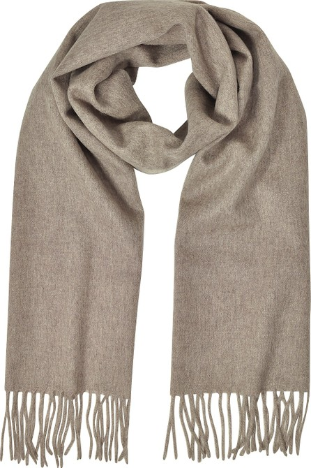 Mila Schon Cashmere and Wool Brown Fringed Long Scarf