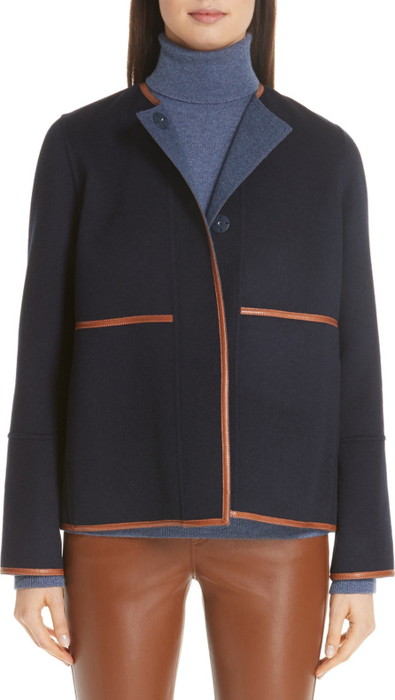 Lafayette 148 New York Rayen Leather Trim Reversible Jacket