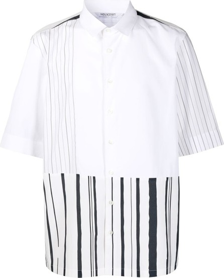 Neil Barrett Striped-panel short-sleeve shirt