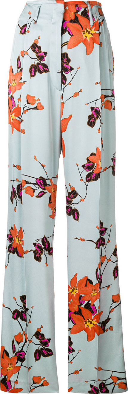 Etro Floral-print flared trousers