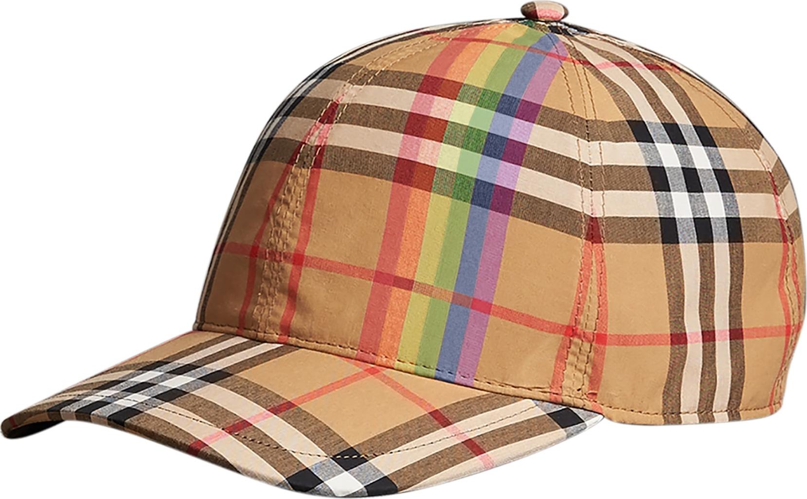 Burberry London England Rainbow Stripe Vintage Check Baseball Cap - Mkt c665b01eef5