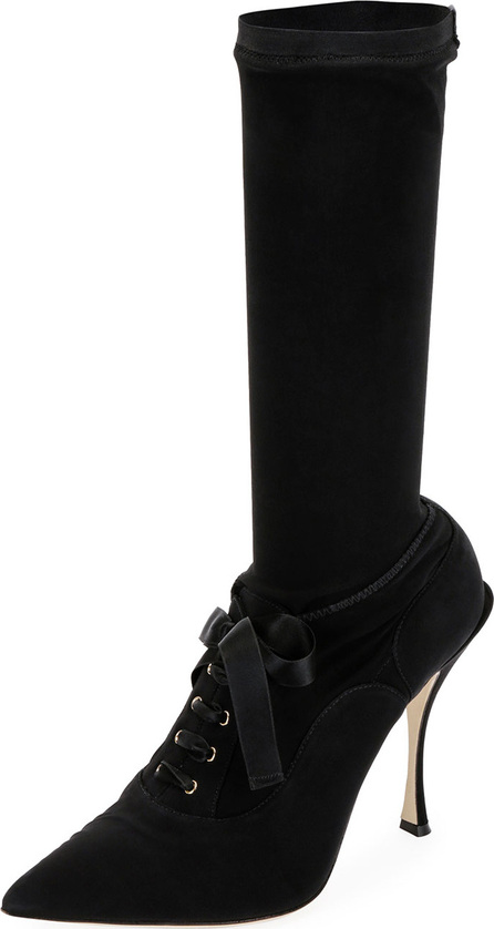 Dolce & Gabbana Stretch Lace-Up Mid-Calf Sock Boot