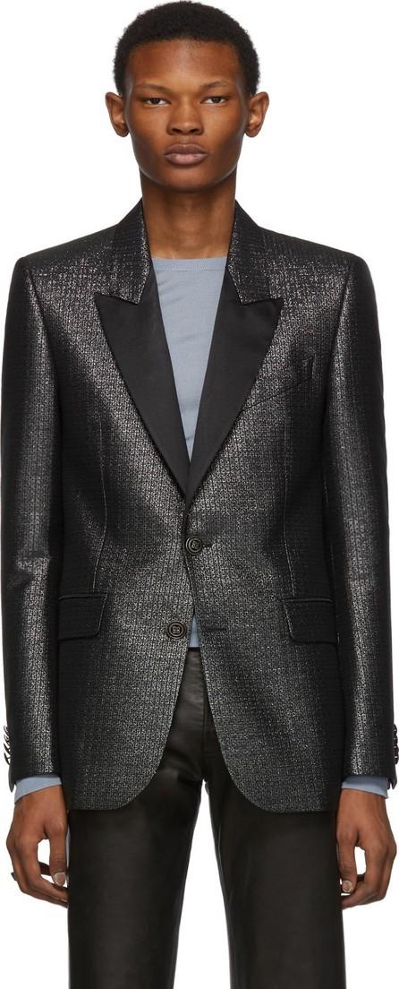 Givenchy Black & Silver Logo Pattern Evening Jacket