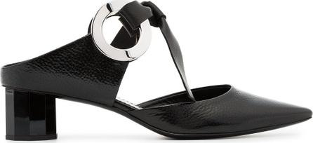 Proenza Schouler Black Grommet 40 leather Block Heel Mules