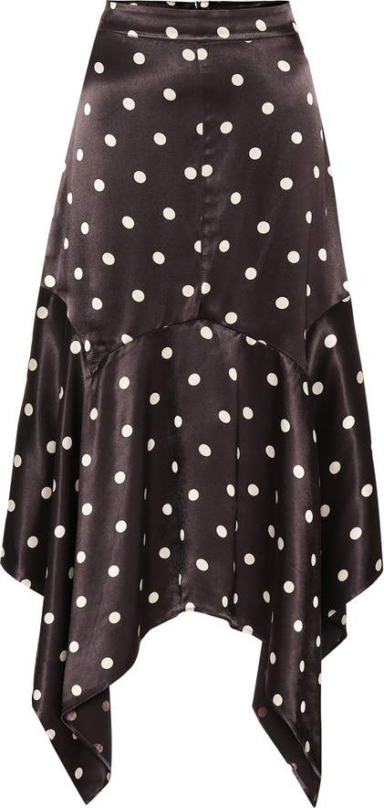 Ganni Polka-dot satin skirt