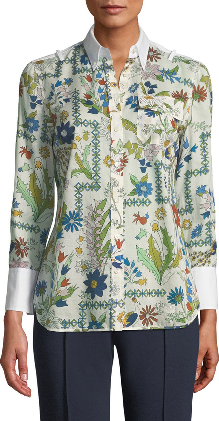 Tory Burch Brigette Meadow-Floral Blouse