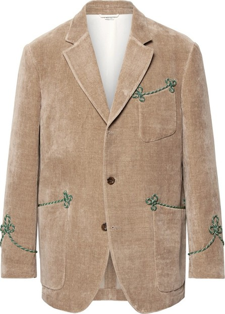 Gucci Beige Passementerie-Trimmed Embroidered Cotton and Linen-Blend Velvet Blazer