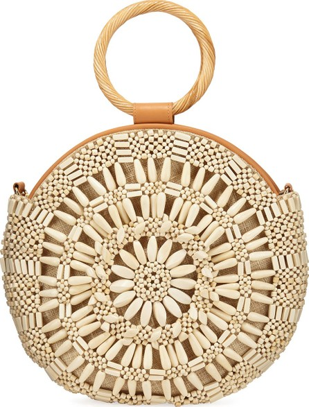 Aranaz Shell Sunburst Round Top-Handle Bag  Cream