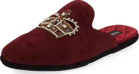 Dolce & Gabbana Men's Da Camera Embellished Suede Slippers