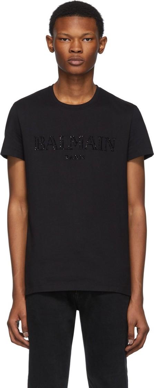 Balmain Black Glass Embroidered T-Shirt