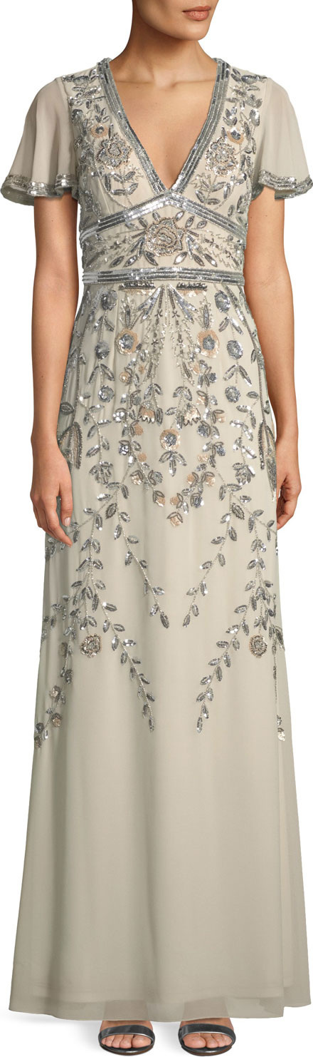 Aidan Mattox Short-Sleeve V-Neck Beaded Gown