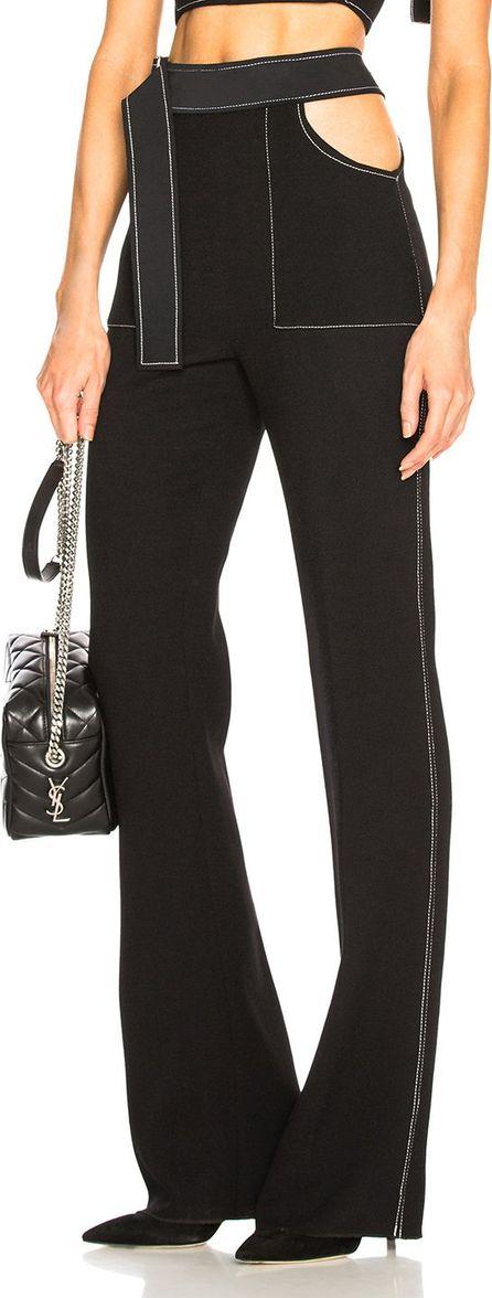 David Koma Contrast Stitching Waistband Cutout Trousers