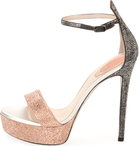 Rene Caovilla Crystal Two-Tone Platform Sandal