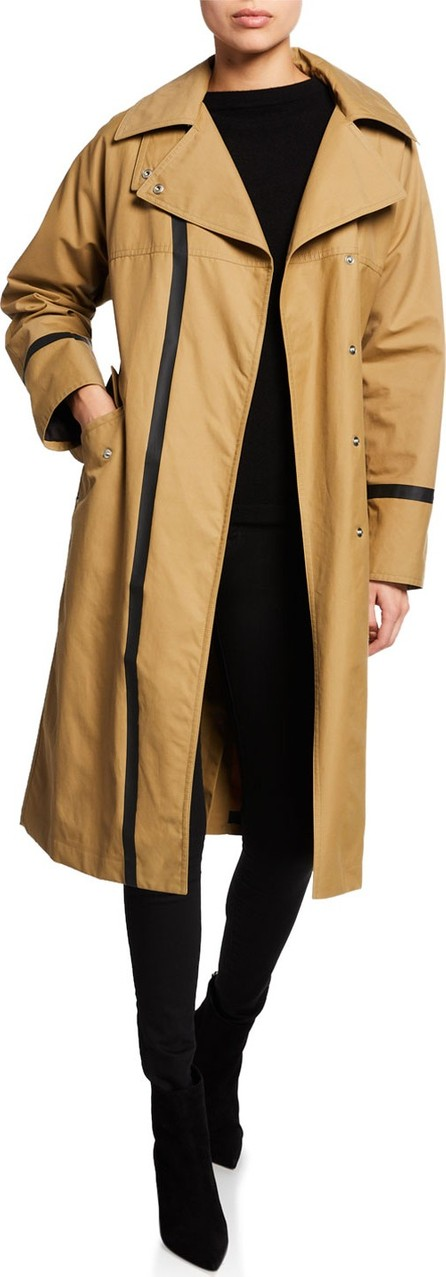 Belstaff Barnton Long Contrast-Trim Trench Coat