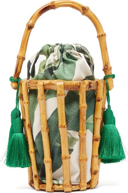 Glorinha Paranagua Lineia leaf-print canvas and bamboo-cage bag