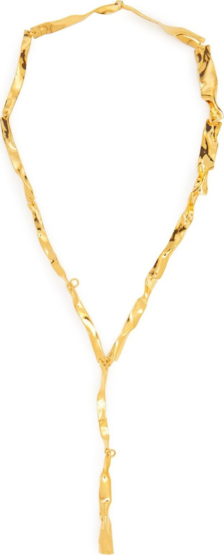 Misho Lariat crinkle-effect gold-plated necklace