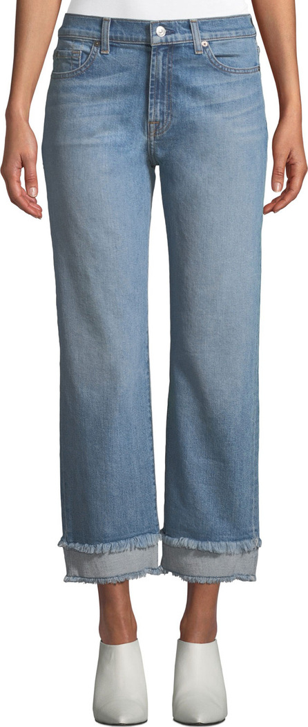 7 For All Mankind Alexa Wide-Leg Cropped Jeans w/ Frayed Hem