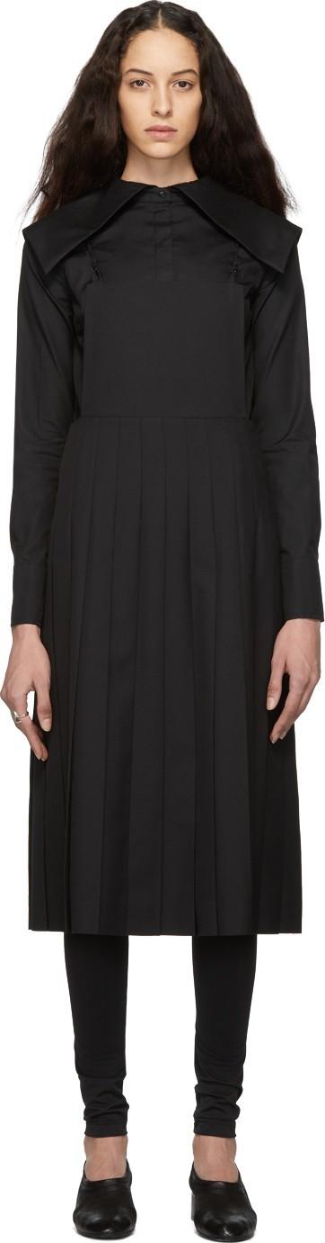 Noir Kei Ninomiya Black Wool Pleated Apron Dress