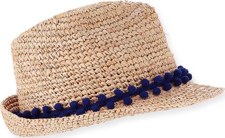 5402f71dae0 Tracy Watts Hitch Crochet Raffia Fedora Hat w  Pompom Hat Band